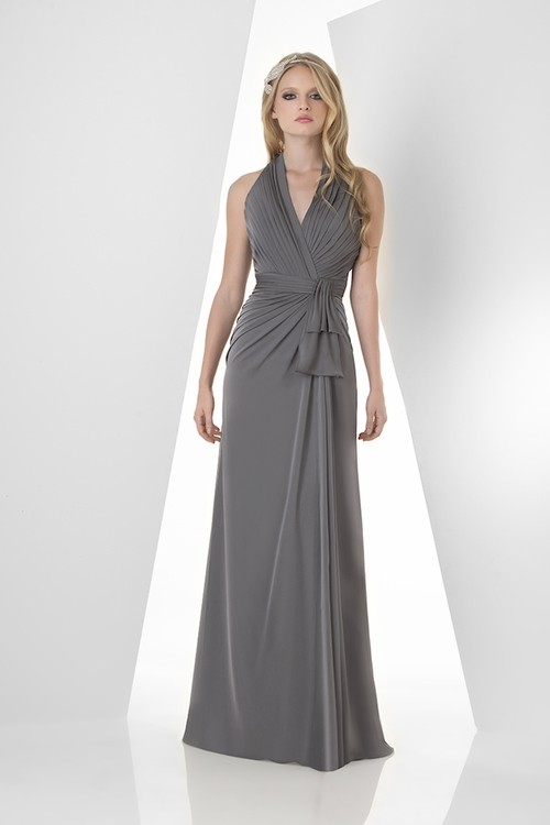 Sheath Halter Open Back Long Charcoal Grey Chiffon Draped
