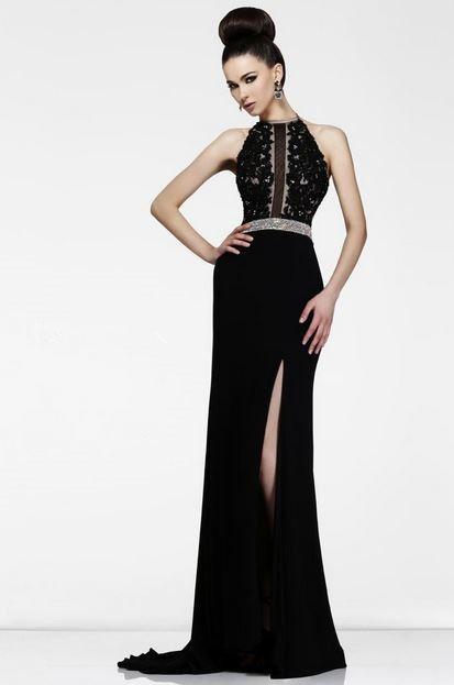 Sheath High Neck Long Black Chiffon Lace Formal Evening