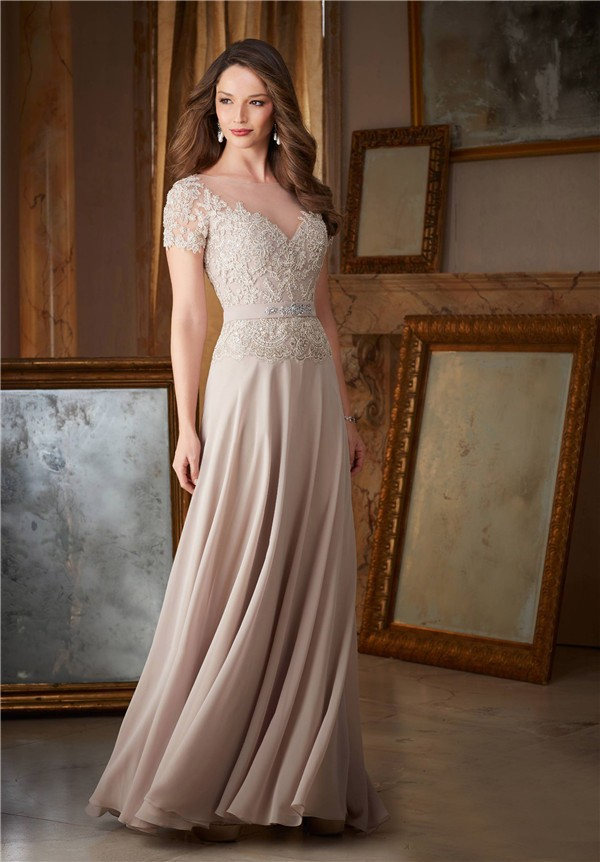 Sheath Illusion Neckline Long Champagne Chiffon Lace