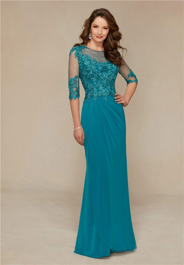 Sheath Illusion Neckline Long Teal Chiffon Lace Special