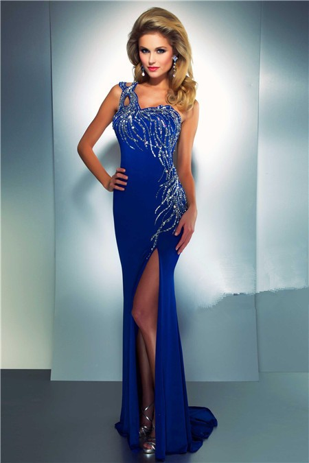 Sheath One Shoulder Long Royal Blue Chiffon Beaded Sequin