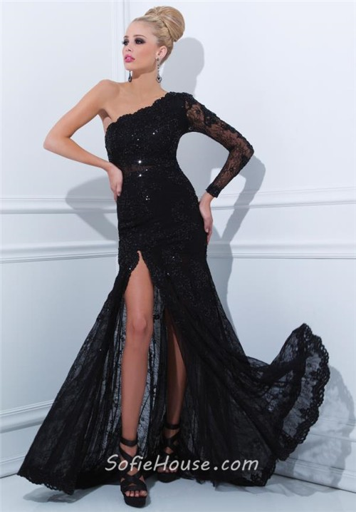 Sheath One Shoulder Long Sleeve Black Lace Evening Prom
