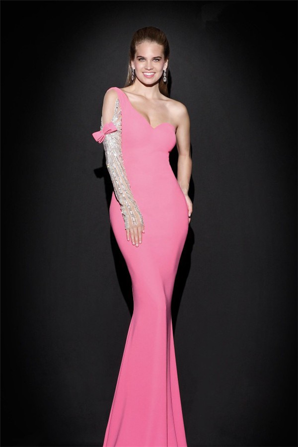 Sheath One Shoulder Sleeved Pink Satin Evening Prom Dress