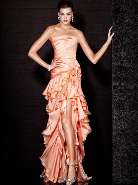 Sheath Strapless High Low Peach Silk Ruffle Tiered Evening