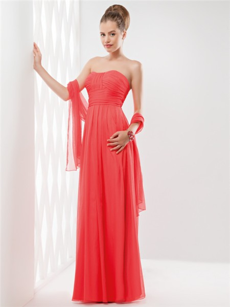 Sheath Strapless Long Neon Coral Chiffon Ruched Evening