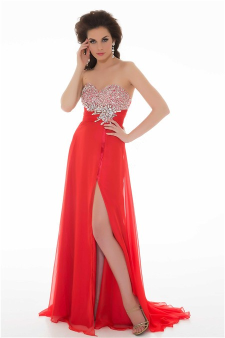 Sheath Strapless Long Red Chiffon Beaded Homecoming Prom