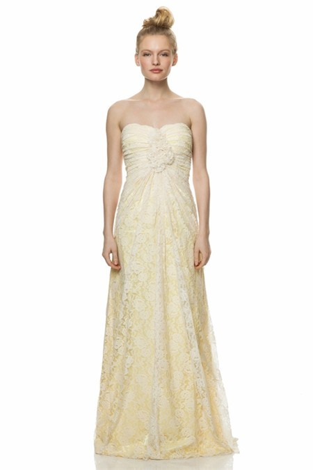 Sheath Strapless Long Yellow Satin Ivory Lace Ruched
