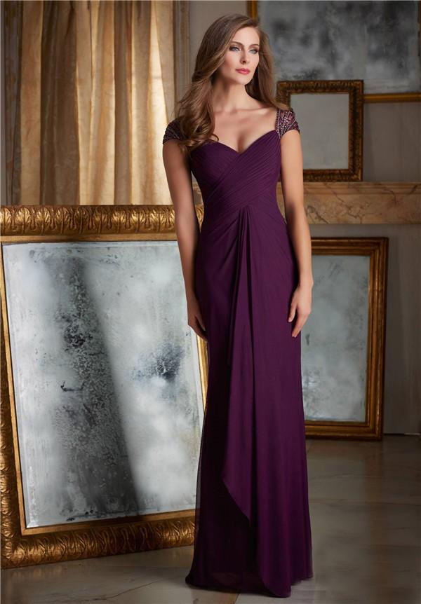 Sheath Sweetheart Cap Sleeve Long Purple Chiffon Draped