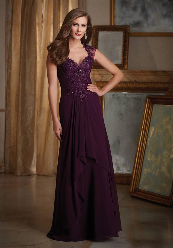 Sheath Sweetheart Cap Sleeve Long Purple Chiffon Lace