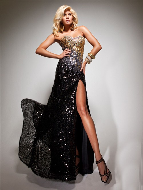 Sheath Sweetheart Long Black Gold Sequined Beaded Evening