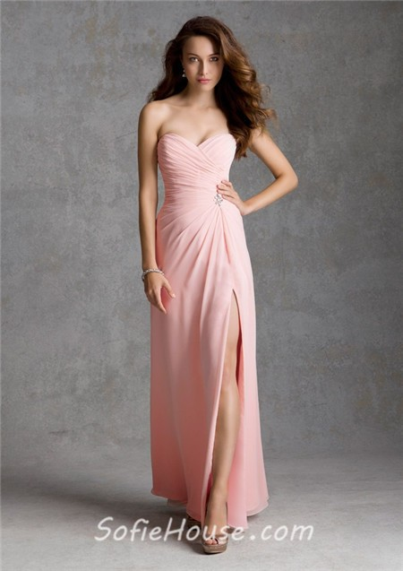 Sheath Sweetheart Strapless Long Light Pink Chiffon Wedding Guest Bridesmaid Dress With