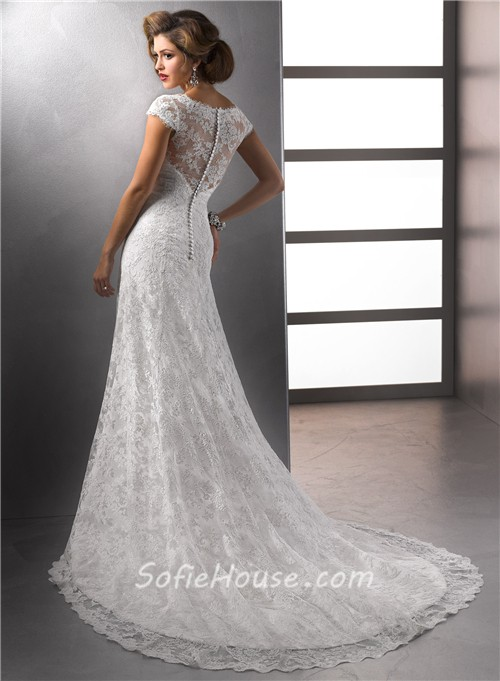 Sheath V Neck Cap Sleeve Destination Beach Lace Wedding Dress With