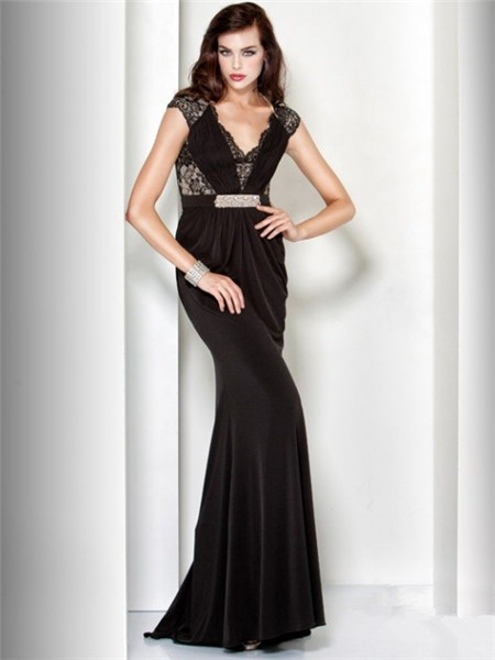 Sheath V Neck Cap Sleeve Long Black Lace Velvet Evening