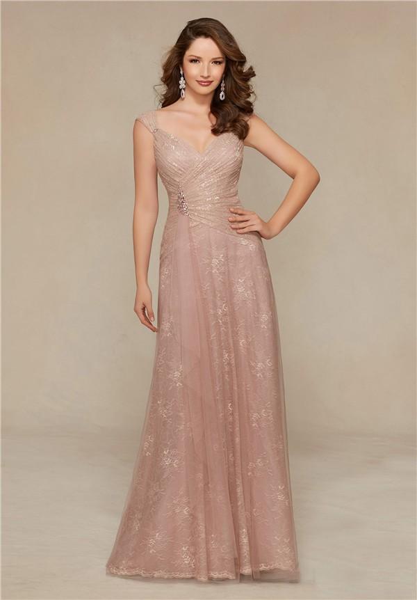 Sheath V Neck Cap Sleeve Long Blush Pink Lace Mother Of
