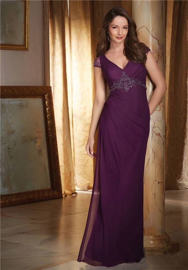 Sheath V Neck Cap Sleeve Open Back Long Purple Chiffon