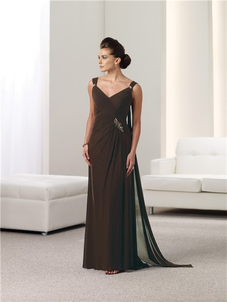 Sheath V Neck Chocolate Brown Chiffon Mother Of The Bride