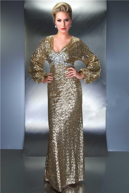 Sheath V Neck Empire Waist Backless Long Sleeve Champagne