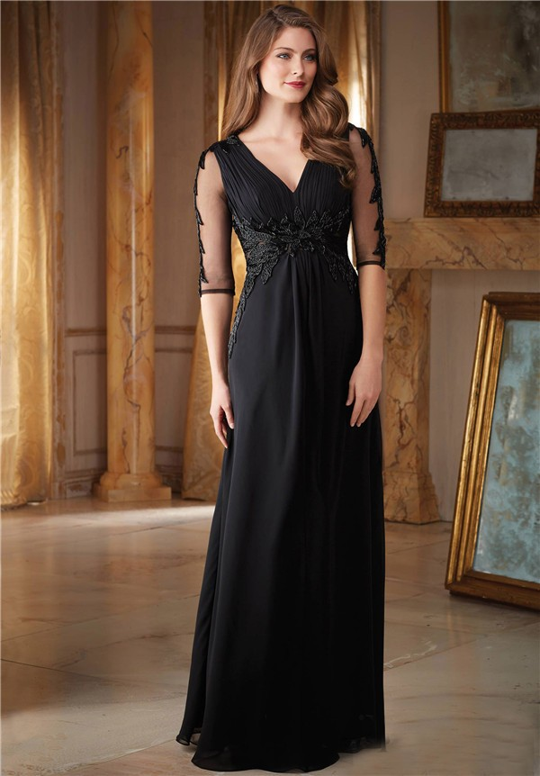 Sheath V Neck Empire Waist Long Black Chiffon Beaded