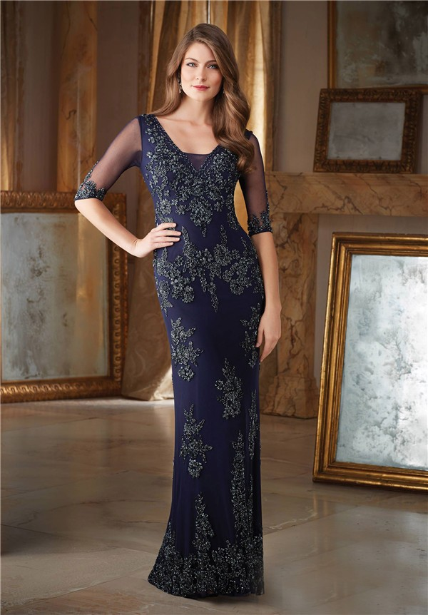 Sheath V Neck Navy Blue Tulle Lace Beaded Formal Occasion
