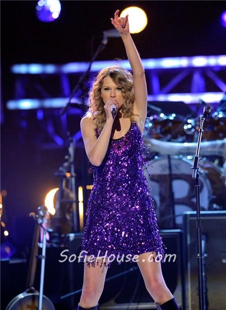 Short Mini Purple Sequin Taylor Swift Sparkly Dress