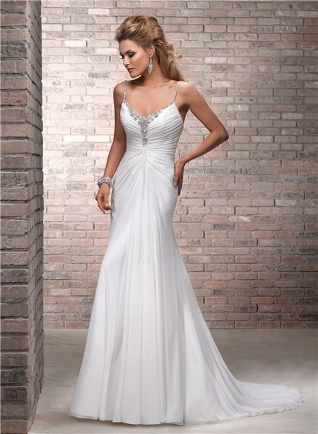 Simple A Line Spaghetti Strap Ruched Chiffon Beaded