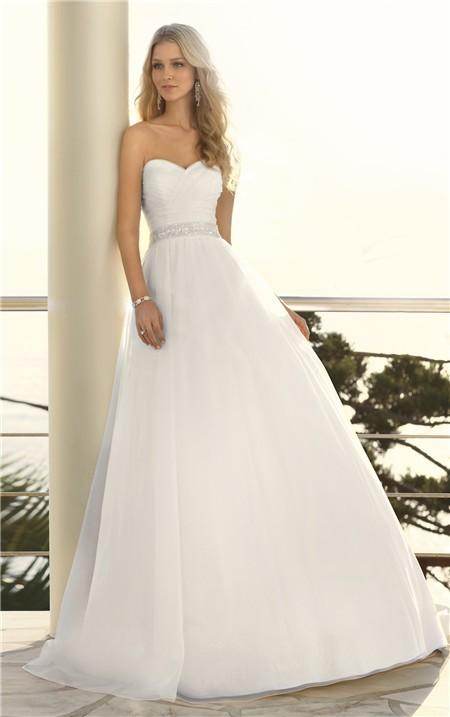 A Line Strapless Sweetheart Organza Crystal Beaded Belt Wedding Dress