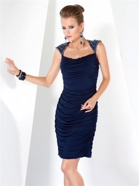 Simple Elegant Short Navy Blue Ruched Jersey Evening Dress