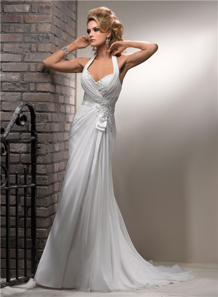 Slim A Line Halter Corset Back Chiffon Beach Wedding Dress