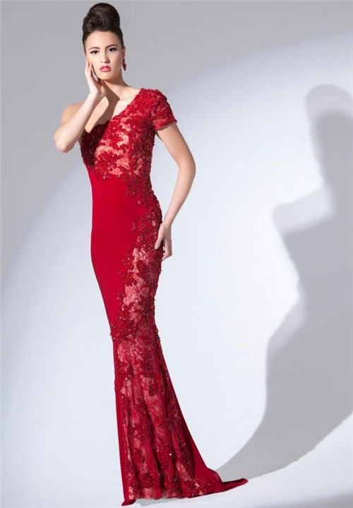 Slim Fitted One Shoulder Sleeve Long Red Jersey Lace