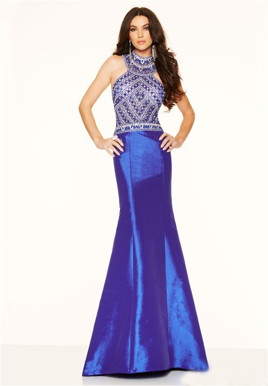 Slim Mermaid High Neck Open Back Royal Blue Taffeta Beaded