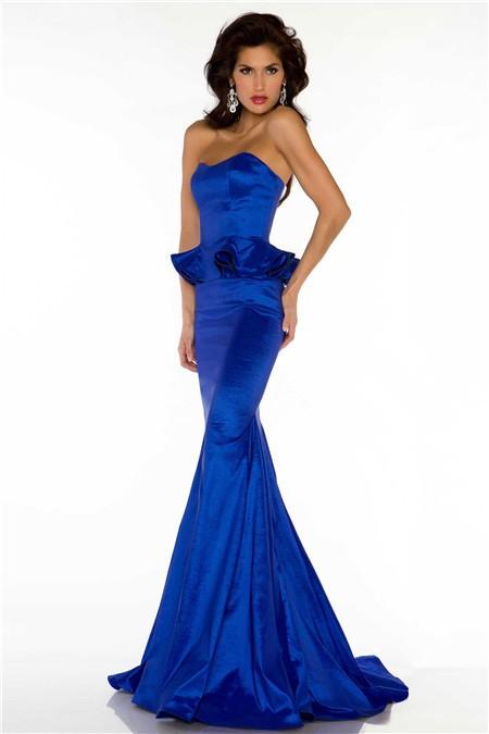 Slim Mermaid Strapless Long Royal Blue Taffeta Peplum