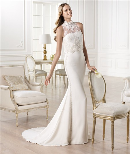Wedding Gown With Lace: Slim Mermaid Strapless Satin Wedding Dress With High Neck