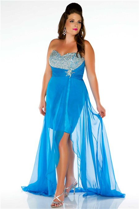 Strapless Empire Waist High Low Blue Chiffon Beaded Plus