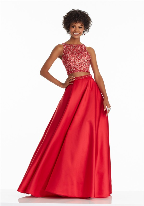 Stunning A Line High Neck Open Back Two Piece Red Satin