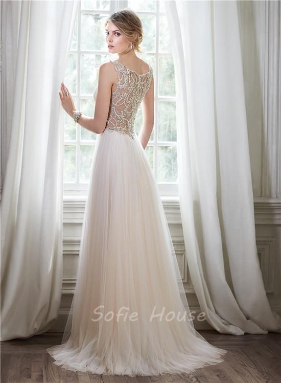 Stunning A Line V Neck Sheer Back Tulle Crystal Beaded Wedding Dress