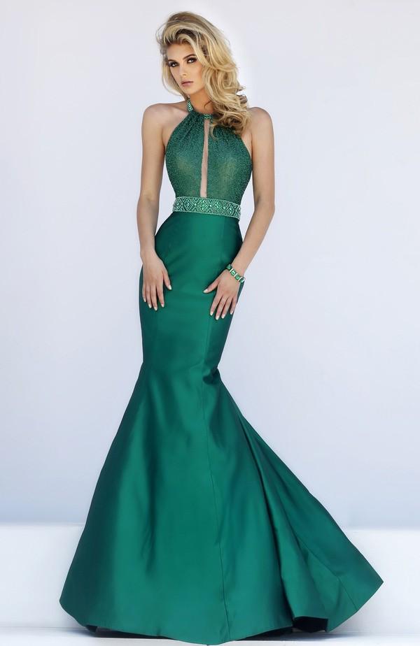 Stunning Mermaid Halter Cut Out Dark Green Taffeta Prom