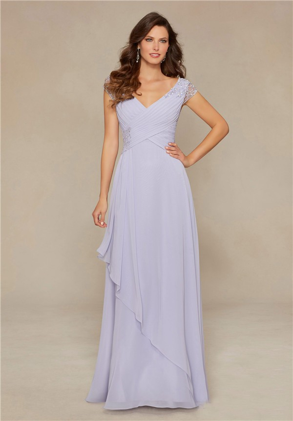 Stunning V Neck Long Violet Chiffon Beaded Mother Of The