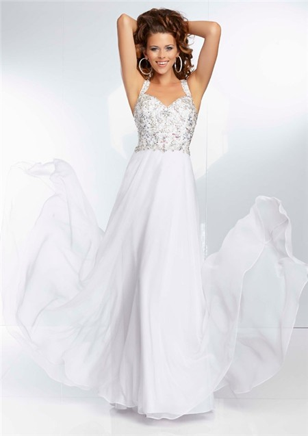 Sweetheart Neckline Flowing Long White Chiffon Beaded Prom