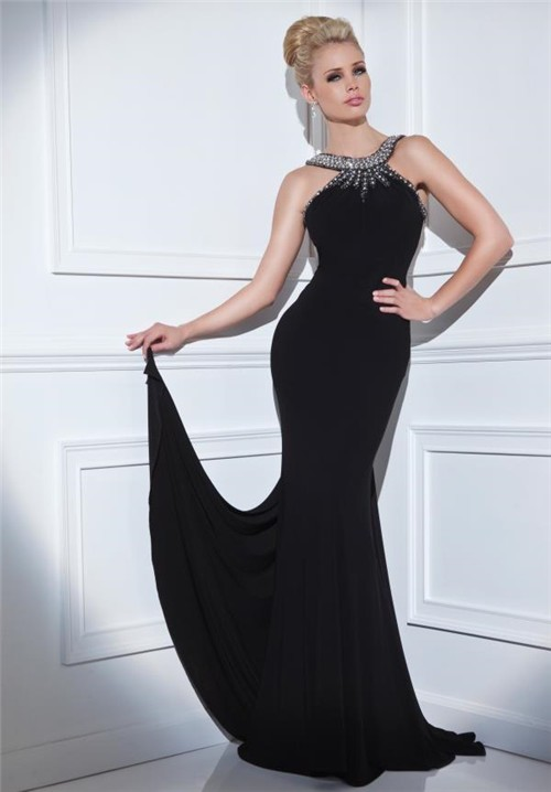 Tight Fitted Open Back Long Black Jersey Beaded Formal