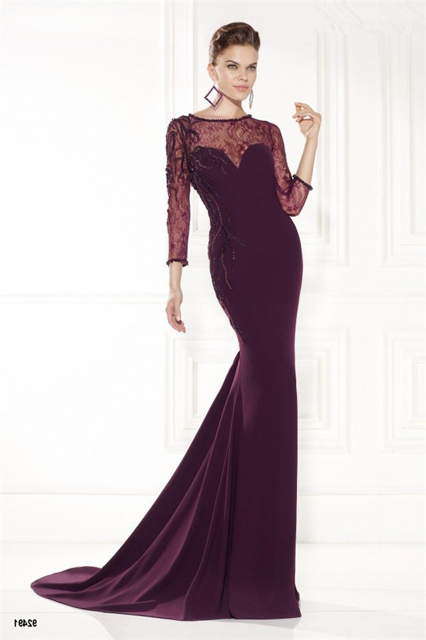 Trumpet Mermaid Burgundy Satin Lace Sleeve Evening Dress