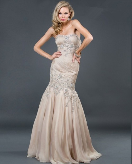 Evening Gown Wedding: Trumpet/Mermaid Strapless Long Champagne Beading Chiffon
