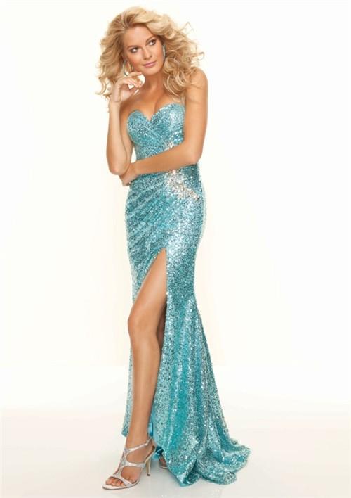 Trumpet/Mermaid sweetheart floor length blue sequined prom