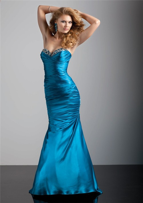 Trumpet Mermaid Sweetheart Floor Length Blue Silk Prom