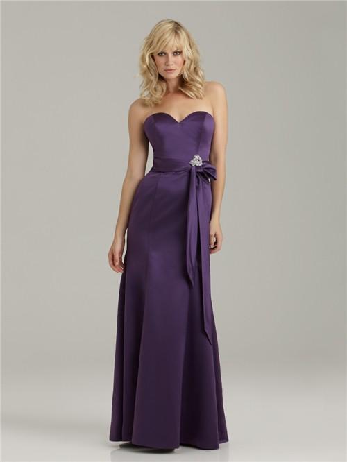 Trumpet Mermaid Sweetheart Floor Length Long Purple Satin