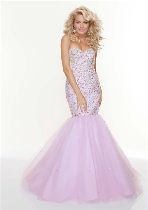 Trumpet Mermaid Sweetheart Long Fishtail Lilac Beaded Prom