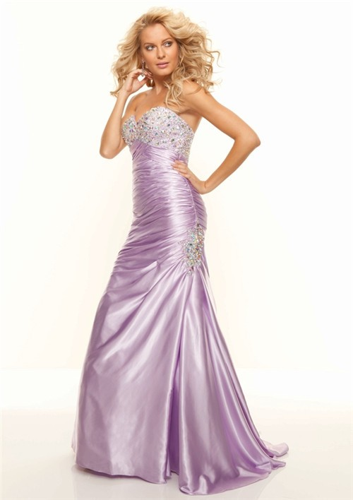 Trumpet Mermaid Sweetheart Long Lilac Silk Prom Dress With