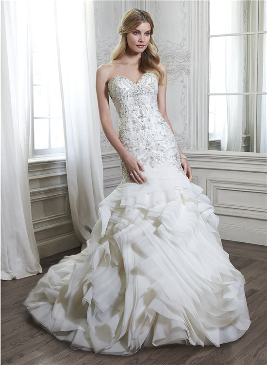 Unique Mermaid Strapless Low Back Satin Beaded Organza Ruffle