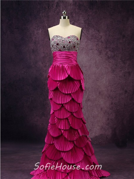 Unique Mermaid Sweetheart Tiered Beaded Hot Pink Prom