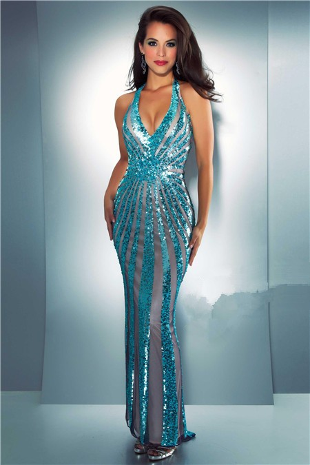 Unique Sexy Sheath Halter Backless Turquoise Blue Sequin