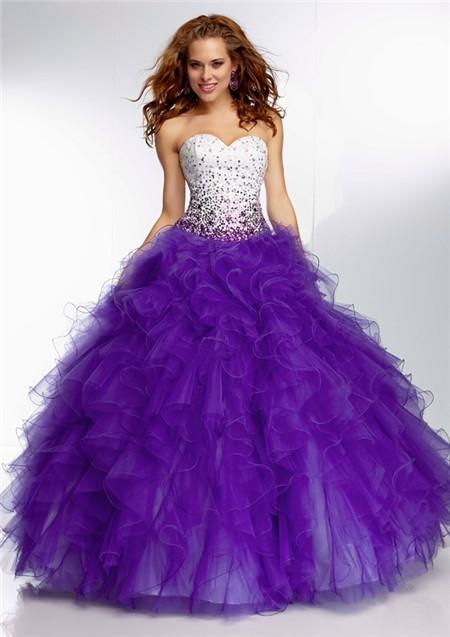 Unusual Ball Gown Sweetheart Long White Satin Purple